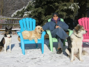 The girls and I taking a break. That's coffee in my mug, by the way!