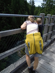 Logan and Susan, our complete attention on the Pooh stick we threw in the Cowichan river.