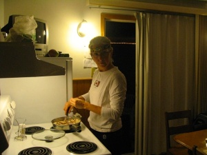 Headlamp sometimes necessary while cooking on fishing trips.