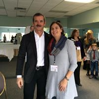 Rochelle hob nobbing with conference attendees. Lucky Commander Hadfield!