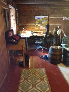 The new office corner, within warming distance of wood stove, and close to piano/fiddle/guitar.